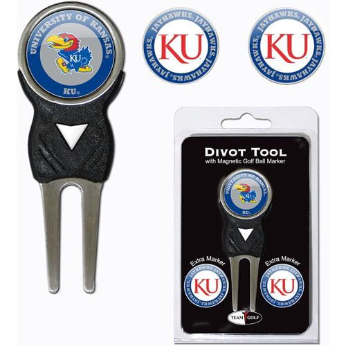 Team Golf NCAA Kansas Divot Tool Pack With 3 Golf Ball Markers