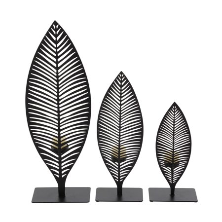 Decmode Set of 3 modern 10, 13, and 18 inch black iron cut-out leaves votive candle holders, Black - Iron Leaf Sphere