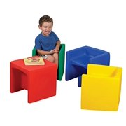 """910007 Childrens Factory Chair Cube Set - Polyethylene - Assorted - 15"""" x 15""""15"""" Overall Dimension"""