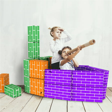 Jumbo Cardboard Building Blocks (Cardboard Building Block Set- 30 Piece Colorful, 3 Size Corrugated Blocks for Educational Fun and STEM Learning for Boys and Girls by Hey! Play! )