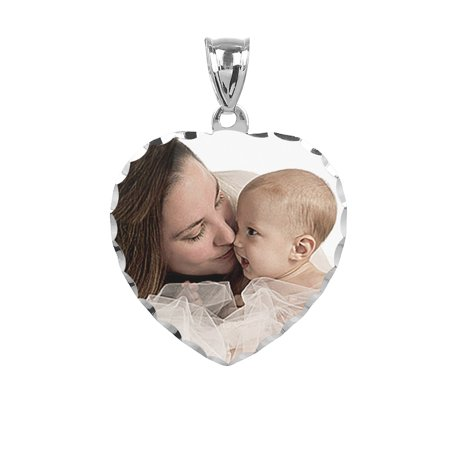 - Personalized Sterling Silver, Gold Plated, 10k or 14k Heart Design Color Photo Charm with Diamond Cut Border
