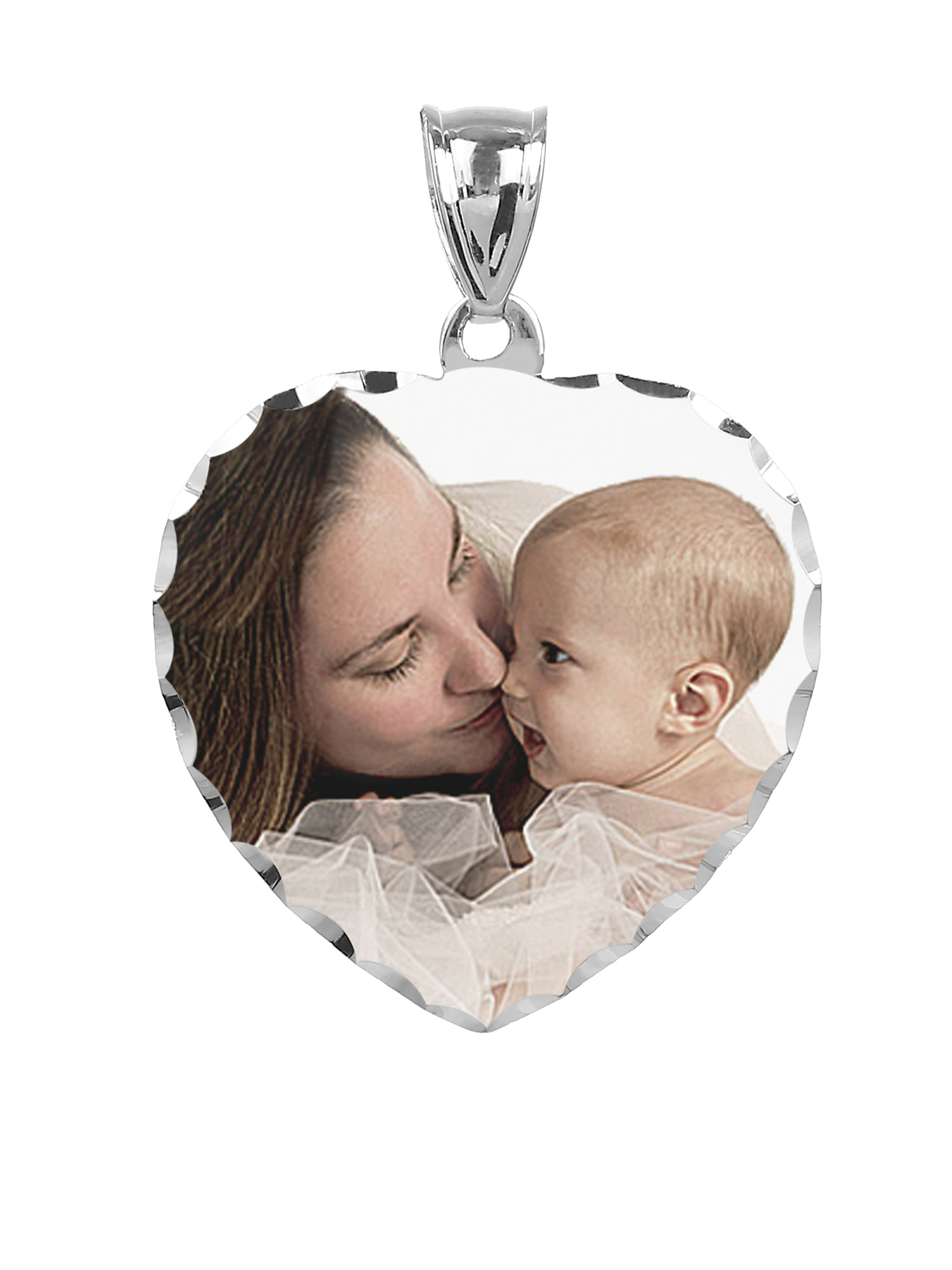 Personalized Sterling Silver, Gold Plated, 10k or 14k Heart Design Color Photo Charm with Diamond Cut Border