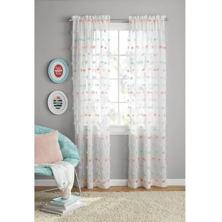 - Your Zone Girls Pom Pom Bedroom Curtain