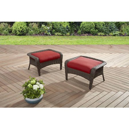 Better Homes And Gardens Colebrook Outdoor Ottomans Set Of 2 Red