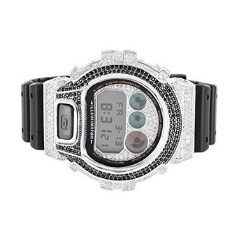 G Shock For Men Dw6900 Silicon Band Iced Out Lab Diamond 2 Tone Watch New