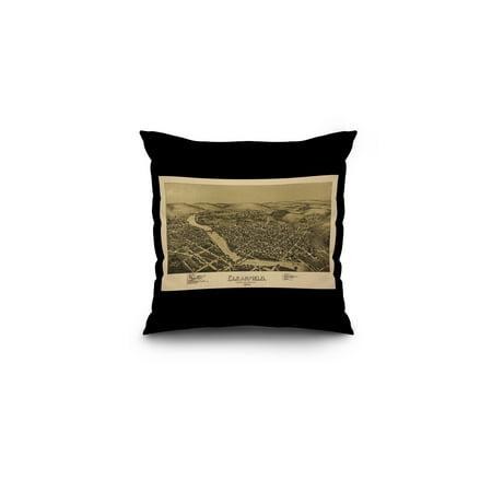 Clearfield  Pennsylvania   Panoramic Map  16X16 Spun Polyester Pillow  Black Border