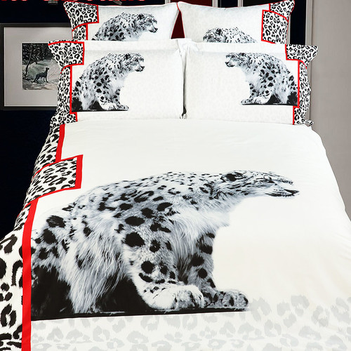 Dolce Mela White Snow Loepard Duvet Cover Set