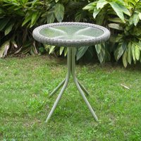 Maui Resin Wicker/ Steel Bistro Table with Glass Top - Antique Moss