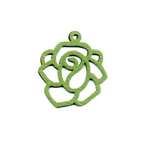 Sea Green Color Coated Brass Filigree Stamping By Ezel - Rose Outline Pendant 22mm (1)