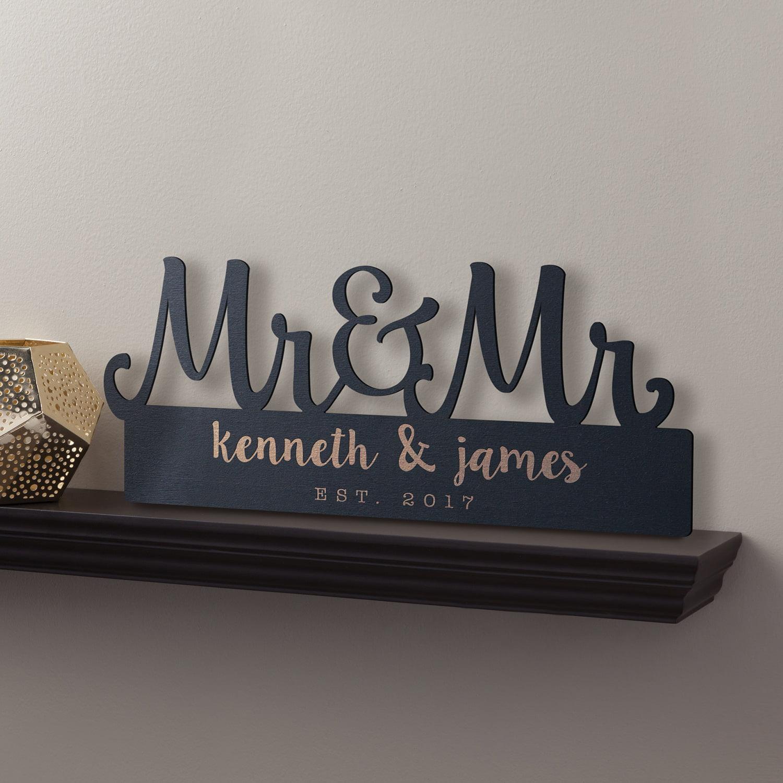 Personalized Mr. & Mr. Black Wood Plaque