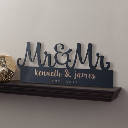 Personalized Mr. & Mr. Black Wood Plaque