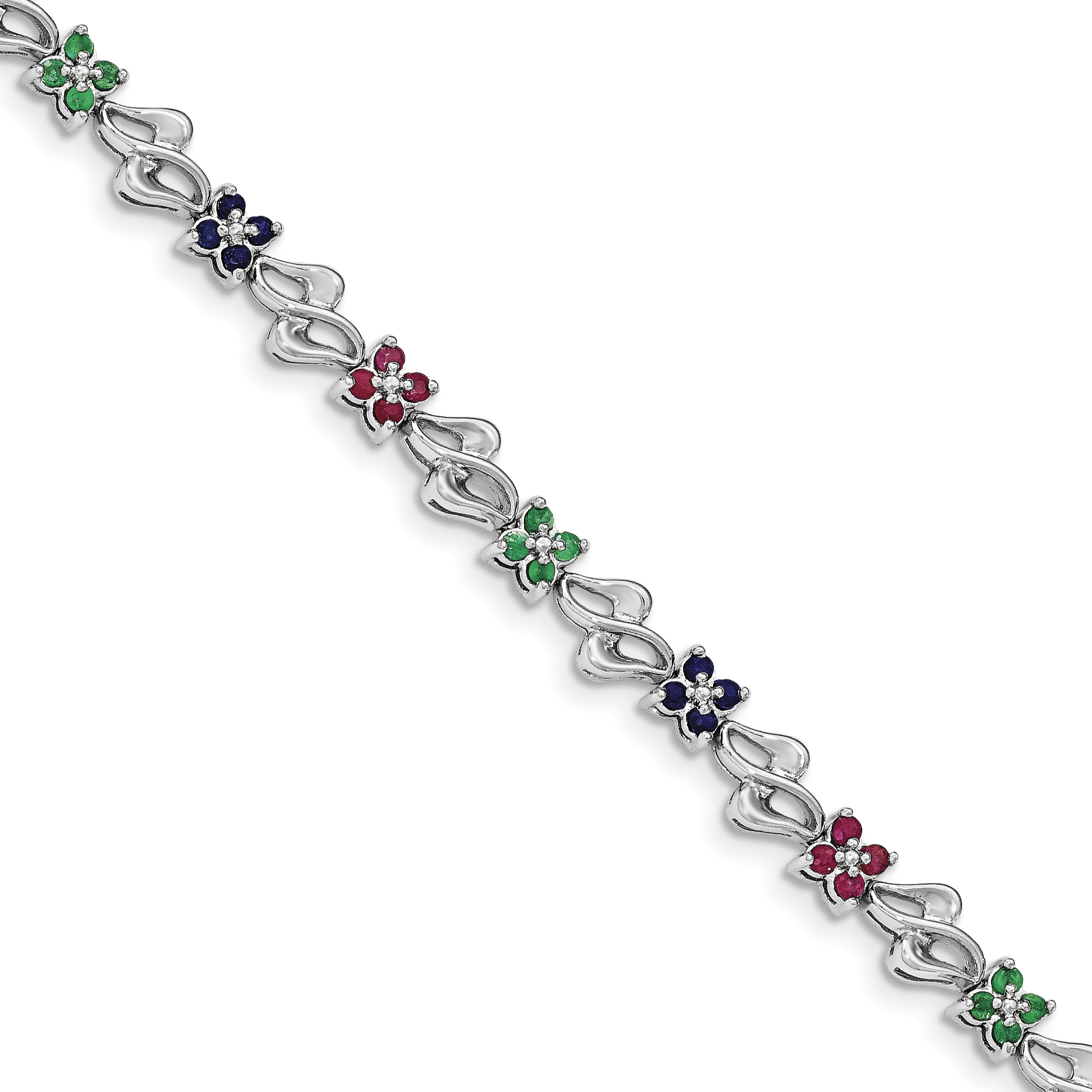 Sterling Silver Rhodium-plated & Sapphire, Ruby , Emerald Bracelet QX940M by Core Silver
