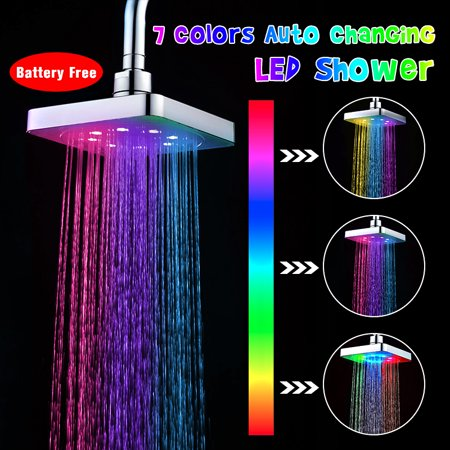 Regressed Shower Light (Bathroom Home LED Water Glow Light Colorful Stainless Shower Head 7 Colors Automatic Changing)