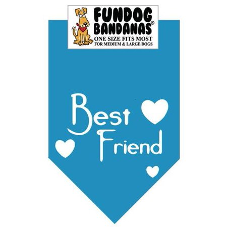 Fun Dog Bandana - BEST FRIEND - One Size Fits Most for Med to Lg Dogs, turquoise pet
