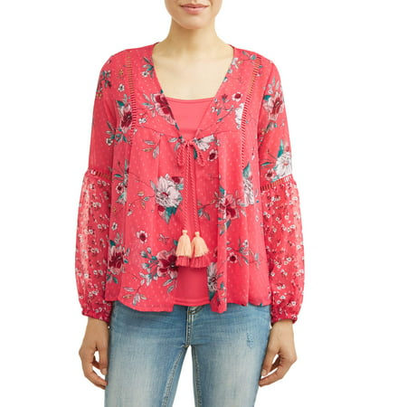 - Women's Woven Blouse Jacket with Cami