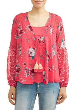 ed303b82ce70f6 Product Image Women's Woven Blouse Jacket with Cami