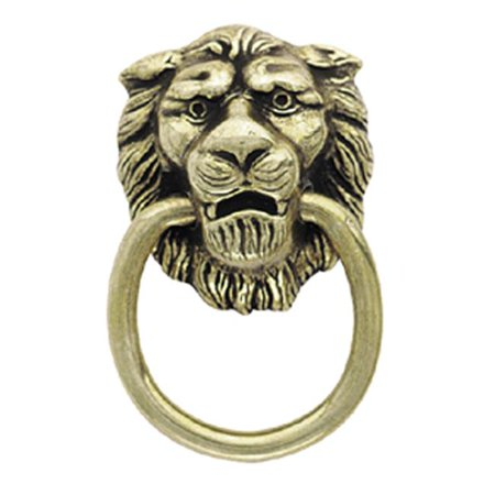 A00888 AE Amerock Traditional Classics 1.38 in. Lion Head Ring Pull, Antique English Amerock Traditional Classics Crystal