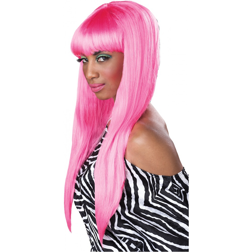 Sexy Bubble Gum Diva Wig Hot Pink Straight Halloween Womens Nicki Minaj Wig
