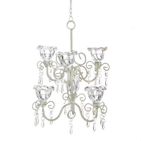 Chandelier Candles, Crystal Bloom Hanging Candle Chandelier White Ivory Light