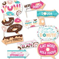 Funny Donut Worry, Let's Party - Doughnut Party Photo Booth Props Kit - 10 Piece