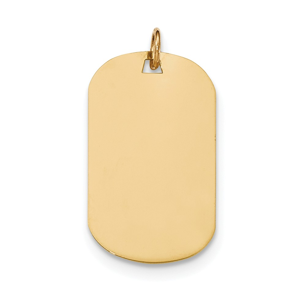 14k Yellow Gold Plain .009 Gauge Engravable Dog Tag Disc Charm