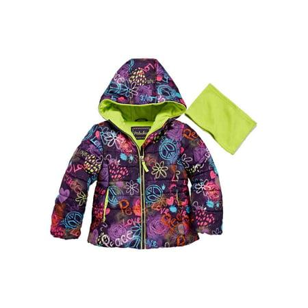 Pistachio Toddler Little Girls Graffiti Peace Love Smile Puffer Jacket Scarf ()