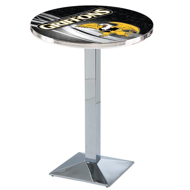 Holland Bar Stool L217C3636MOWSt-D2 36 in. Missouri Western State Griffons Pub Table with 36 in. Top, Chrome - image 1 de 1