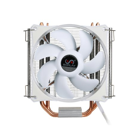 SOPLAY CPU Cooler 4 Heatpipes 4pin 12cm White LED Fan PC Computer for Intel LGA 115X AMD All Series CPU Cooling Radiator