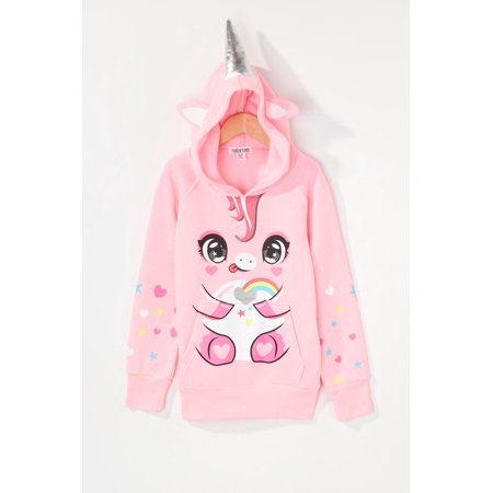 Urban Kids Youth Girls Heart Glitter Unicorn Character Popover Hoodie - image 3 of 3