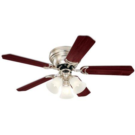 Westinghouse 7215900 42u0022 Brushed Nickel & Rosewood/Birds Eye Maple Contempra Trio Ceiling Fan With Light Kit