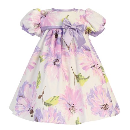 Baby Girls Lilac Short Sleeve Floral Cotton Print Easter Dress 6-12M