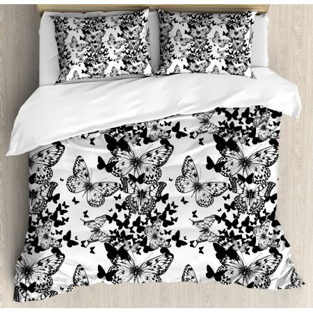 Black and White King Size Duvet Cover Set, Starry Night Drifter Butterfly Silhouettes Monochrome Sketch Style Fauna, Decorative 3 Piece Bedding Set with 2 Pillow Shams, Black White, by Ambesonne