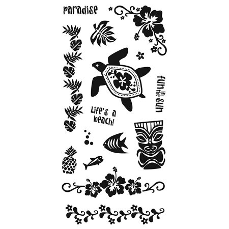 01-005535 4-Inch-by-8-Inch Clear Stamp, Island Fun, Clear stamps cling to any of our stamp plates, and can be easily arranged, re-arranged, saved.., By Fiskars - Fiskars Embossing Plates