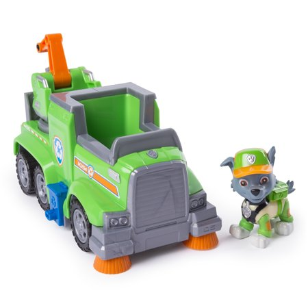 PAW Patrol Ultimate Rescue - Rocky's Ultimate Rescue Recycling Truck with Moving Crane and Flip-open Ramp, for Ages 3 and (Folding Shop Crane)
