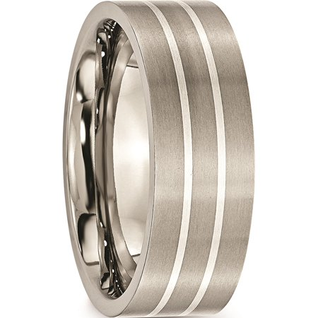 JbSP- Titanium Sterling Silver Inlay Flat 8mm Brushed Band - image 4 de 6