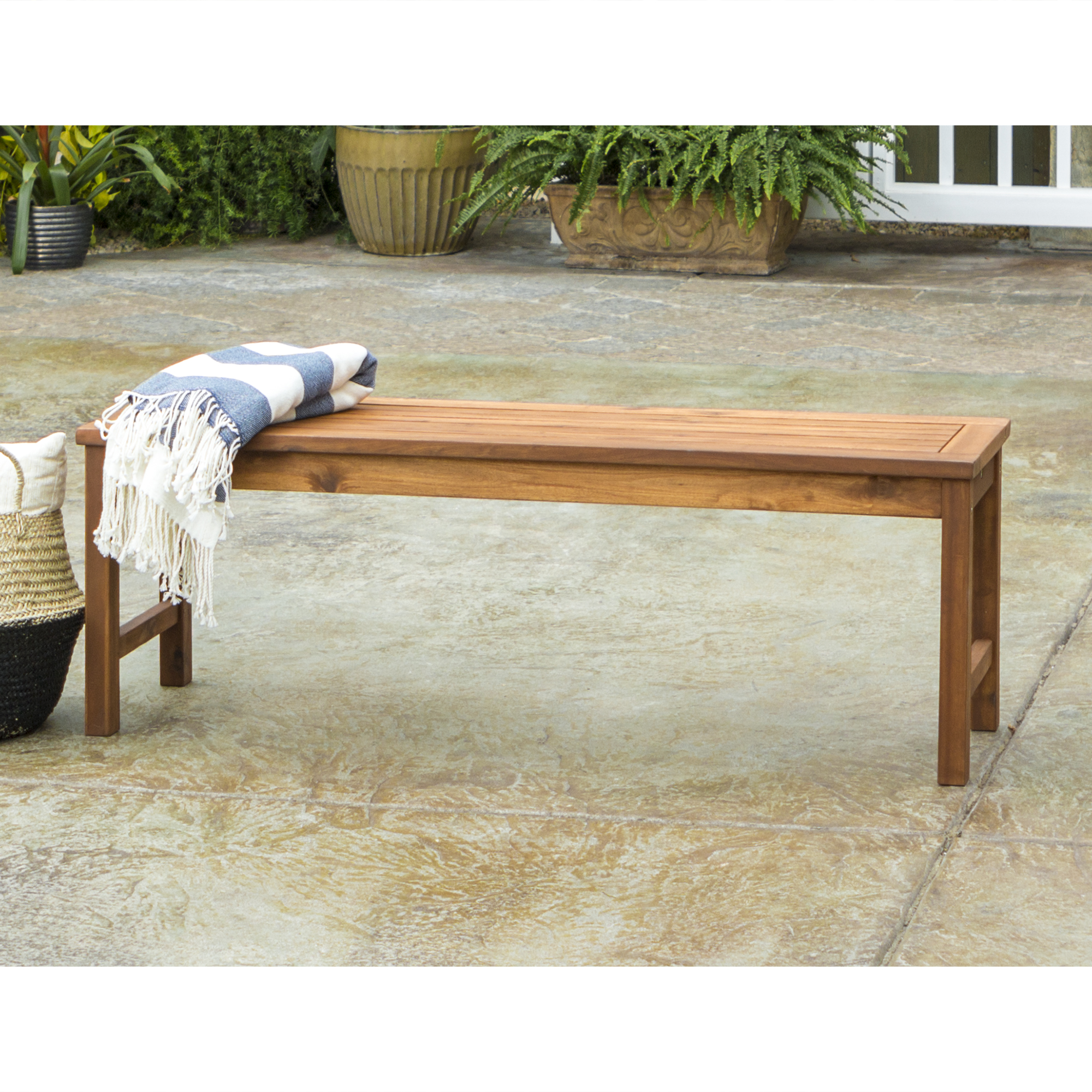 Acacia Wood Patio Bench, Brown