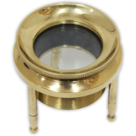 Brass Tripod Magnifier For Table Top With -1-1/8 Adjustable Height Glass Lens (ToolUSA: G8445-2188MT)