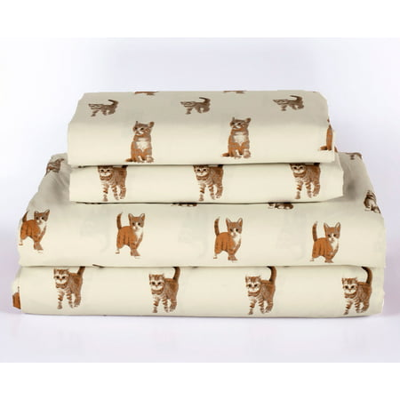 Cat Kitten Queen Size 4 Piece Sheet Set Microfiber Bedding, Orange Tabby Kitty Pet Animal Lover