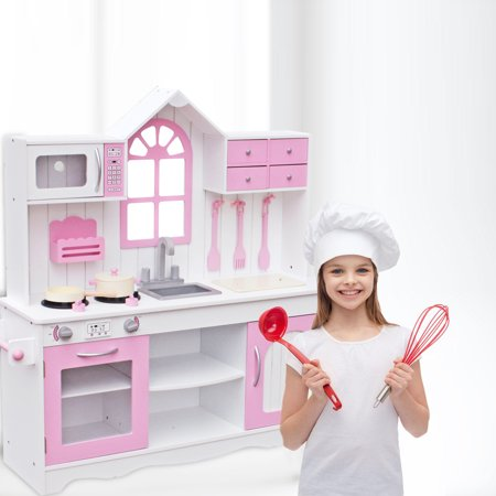Pretend Play Kitchen Set for Girls, Kids Kitchen Playset w/ Stove Oven Microwave Sink, Wooden Pretend Cooking Food Set, Kids Girl Toys Birthday Christmas Gifts, 41.7