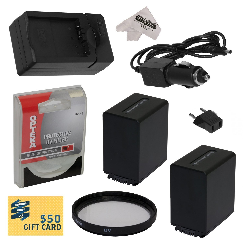2 Opteka NP-FV100 4500mAh Ultra High Capacity Li-ion Battery Packs, Charger for Sony PJ710, PJ710V, PJ760, PJ760V, PJ790, PJ790V Camcorder with UV Filter,Cleaning Cloth