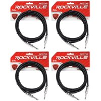 """4 Rockville RCGT10B 10'  1/4"""" TS to 1/4'' TS Guitar/Instrument Cable"""