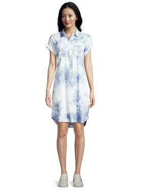 EV1 from Ellen DeGeneres Short Sleeve Tie Dye Shirt Dress Women's