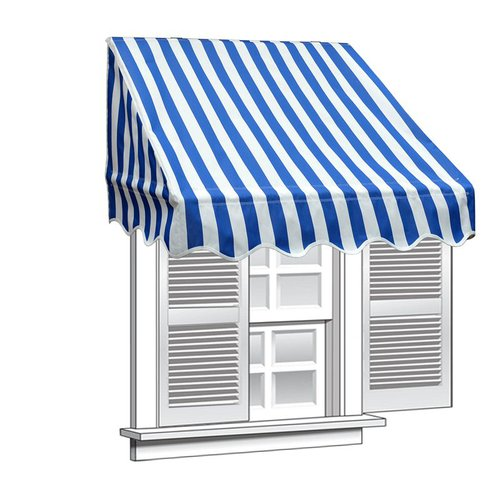 ALEKO 8' x 2' Window Awning Door Canopy, Blue and White Stripes
