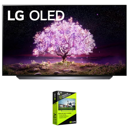 LG OLED65C1PUB 65 Inch 4K Smart OLED TV with AI ThinQ (2021 Model) Bundle with Premium 4 Year Extended Protection Plan