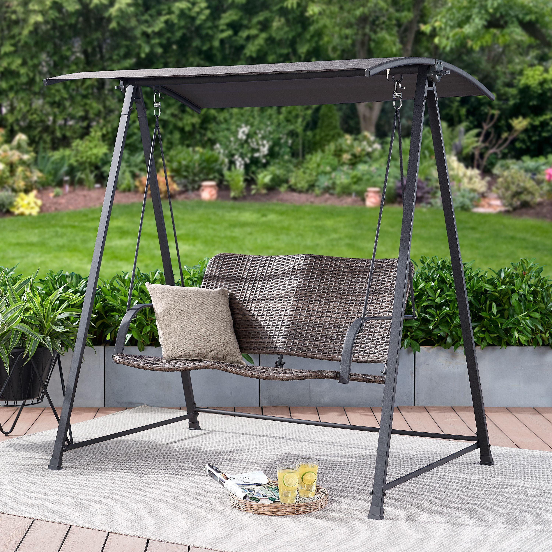 Outdoor Swing Chair Patio Garden Wicker Deck Hanging Porch Lounger Canopy Yard