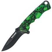 United Cutlery BV161 Black Legion Mayhem Skull Folding Knife, Green