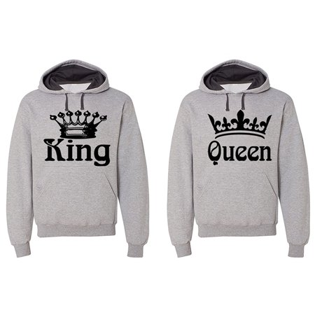 - FASCIINO - Matching His & Hers Couple Hooded Sofspun Sweatshirt Contrast hood Set - King and Queen (Black Print)
