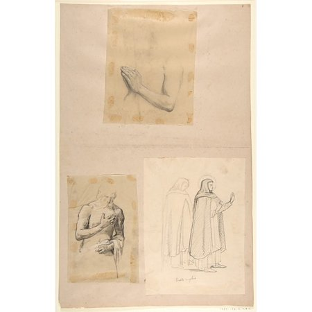 A Study For Clovis  Middle Register  B Study For Clovis  Middle Register  C St Dominic And Another Friar After Fra Angelico  Studies For Wall Paintings In The Chapel Of Saint Remi Sainte Clotilde Pari