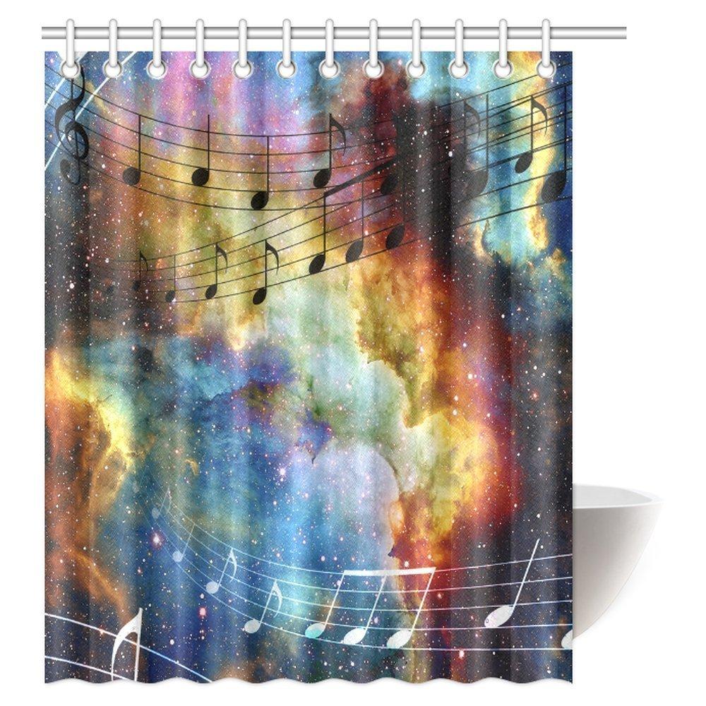 GCKG Galaxy Music Shower Curtain Modern Musical Artwork Classroom Note Space And Stars Fabric Bathroom 60x72 Inches