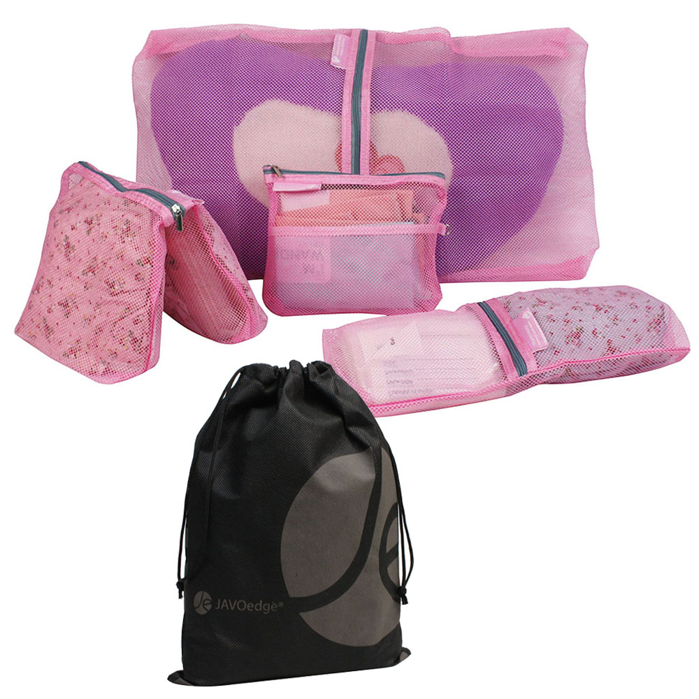 4-Piece Easy See Through Mesh Travel Packing Cubes and Bonus Reusable Drawstring Bag (4 Various Sizes)